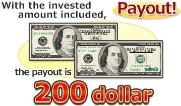 With the invested amount included, the payout is 200dollar!
